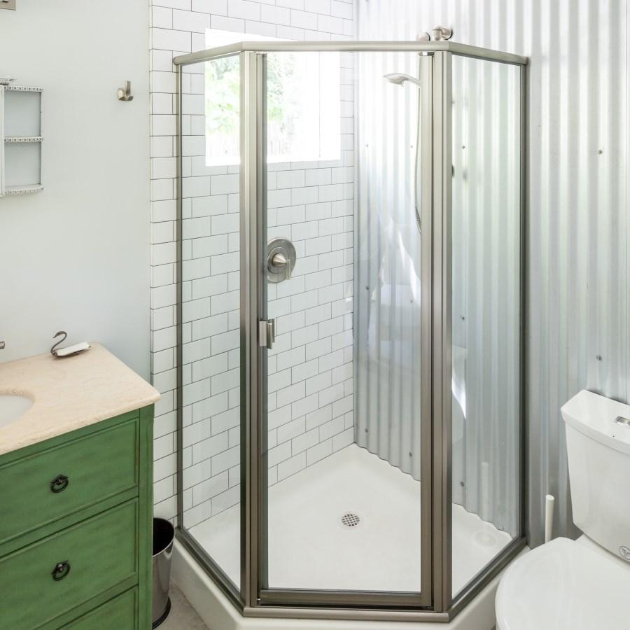 bathroom in small artist studio